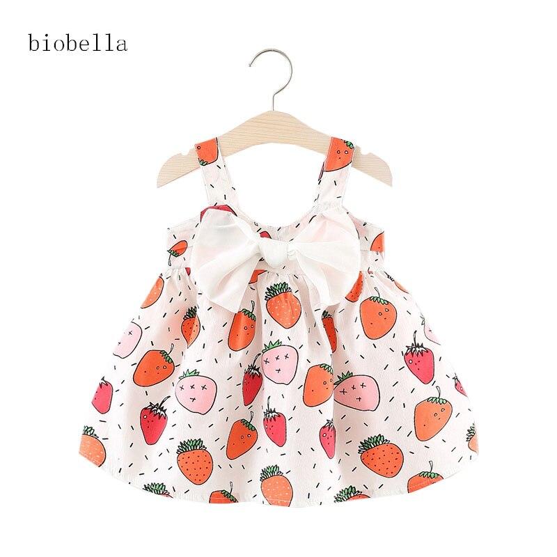 Lovely Girls Dresses For Fuit Print Girls Vestidos Infantis Summer Princess Big Bow Decor Newborn Baby Dress Princesses Dress