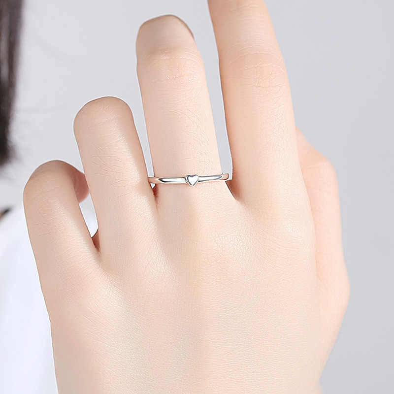 ELESHE แหวนผู้หญิง 925 เงินสเตอร์ลิง Eternity Love Heart แหวนคู่แต่งงานแฟชั่นเครื่องประดับ Anillos Mujer