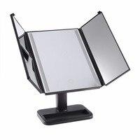 Tela Sensível Ao Toque de Luz LED Espelho de Maquiagem Espelhos 3-folding 1X/2X/3X Espelho De Aumento De Mesa Para Cosméticos Make Up presentes MR-L3013