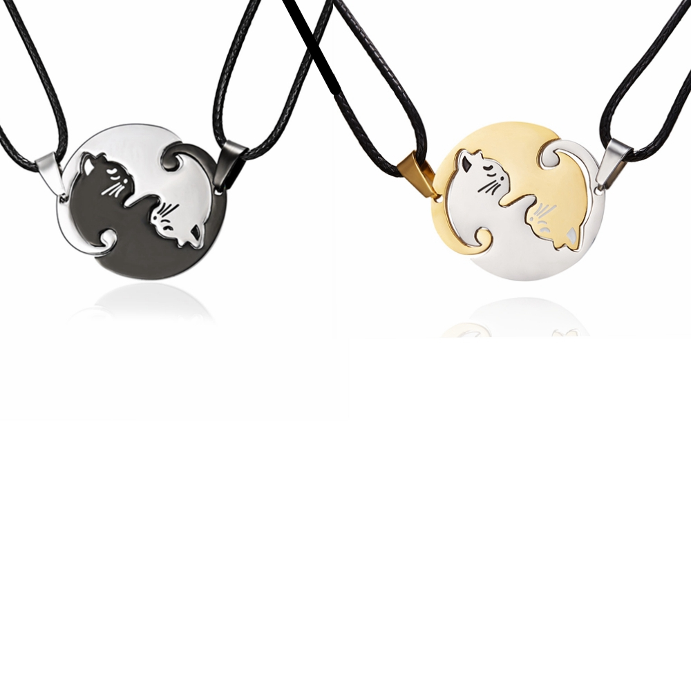 Rinhoo Black white Gold silver Necklace Titanium Steel animal cat couple women men lovers jewelry Valentines Day gifts