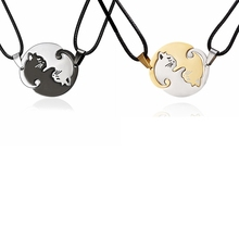Rinhoo Black white Gold silver Necklace Titanium Steel animal cat couple Necklace women men lovers jewelry Valentine's Day gifts equte 316l titanium steel calendar style couple lovers rings silver coffee men 8 women 6