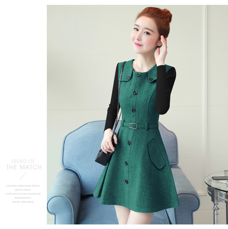 winter new round collar single-breasted cloth dress belt buttons A word women dresses Korean fashion outfit lady vogue vestido 22
