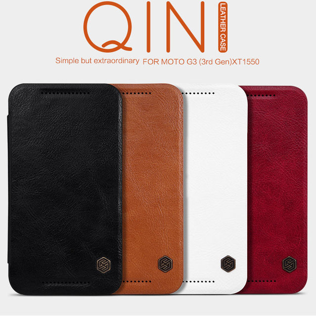 huge selection of d2ab5 124c7 US $10.52 |Original Nillkin Qin Series Luxury Flip Leather Case For  Motorola Moto G3 Moto G Gen 3 XT1548 Classical Leather Cover Case +Film on  ...