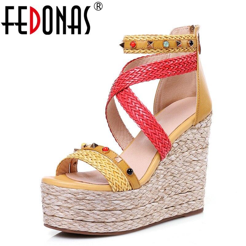 De Sandalias Mujeres 12 Zapatos Fedonas Gladiador amarillo Mujer Tacones Verde Plataformas Verano Cm Gruesos 2018 Casuales Moda Bohemia 1FxF8gBq5