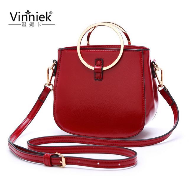 Vinniek 2017 Famous Brands Women Shoulder Bag Pu Leather Lady Totes Crossbody Bags Circle Round Handle