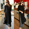 Real Photo Autumn And Winter Maternity New Style Thick Elastic Thread Fat Girl Long Sleeve Long