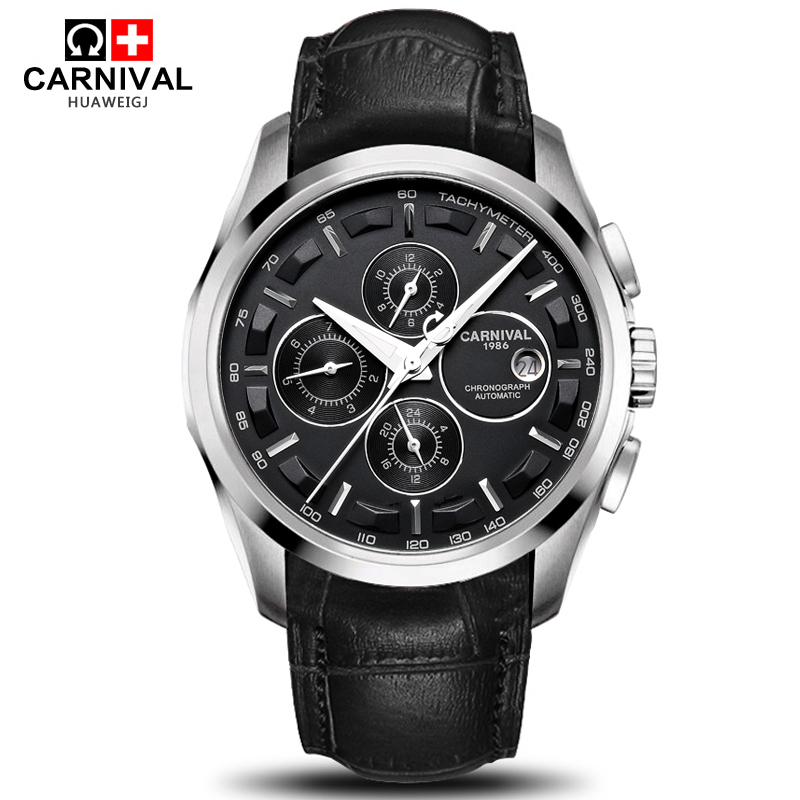 Carnival military sports automatic mechanical watch men sapphire full steel leather strap luxury brand mens watches