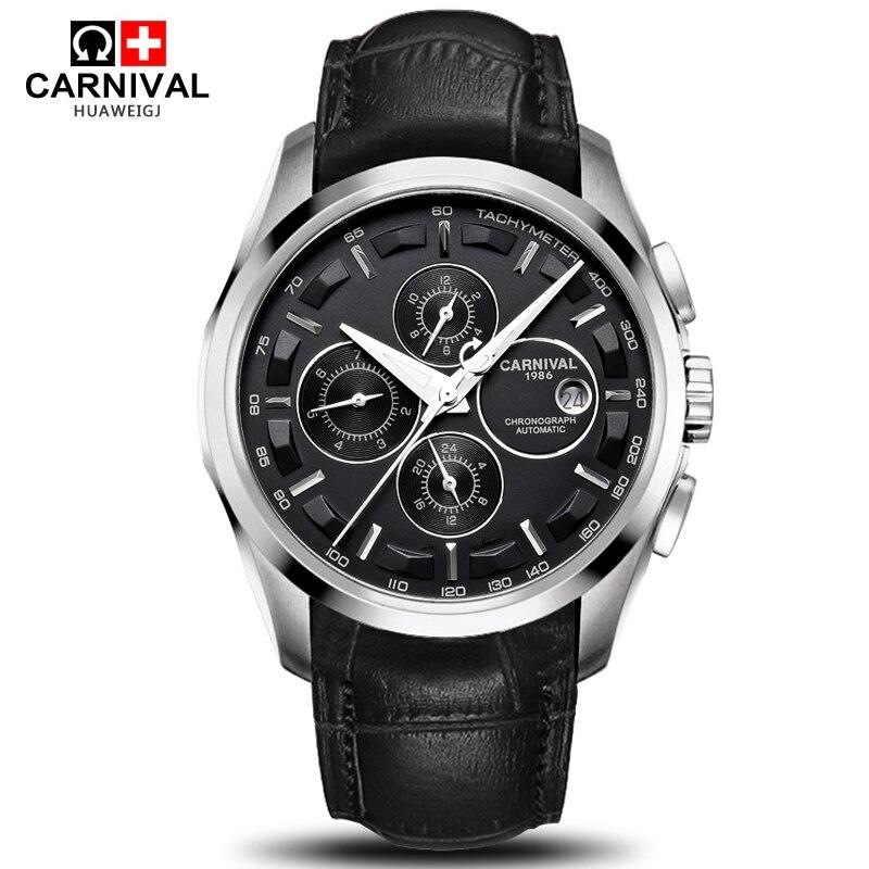 Carnaval sport militaire automatique montre mécanique hommes saphir en acier bracelet en cuir de luxe marque hommes montres relogio saat