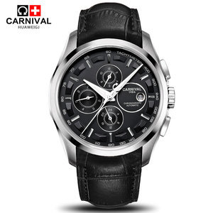 Image 1 - Carnival military sports automatic mechanical watch men sapphire full steel leather strap luxury brand mens watches relogio saat