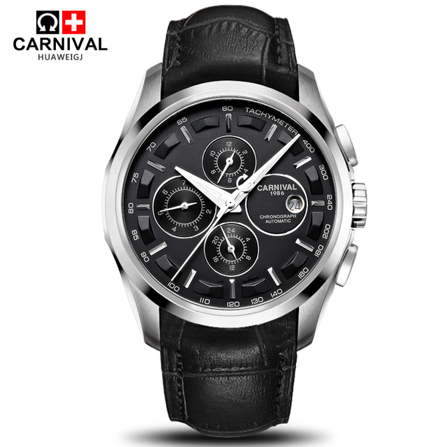 Carnival military sports automatic mechanical watch men sapphire full steel leather strap luxury brand mens watches relogio saat