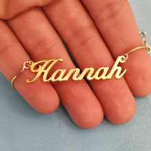 Personalized Name Necklace Gold stainless steel Box Chain Custom Jewelry Collar Mujer For Women