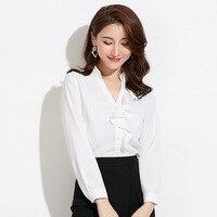 Shuchan Ladies White Shirt V neck Ruffles Asymmetry Women's Blouse Woman Top Korean Style Blusas New Arrival Women 2019