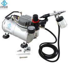 OPHIR 7cc & 22cc Dual Action Airbrush Air Compressor Kit for Hobby Tattoo Nail 110V,220V_AC089+AC005