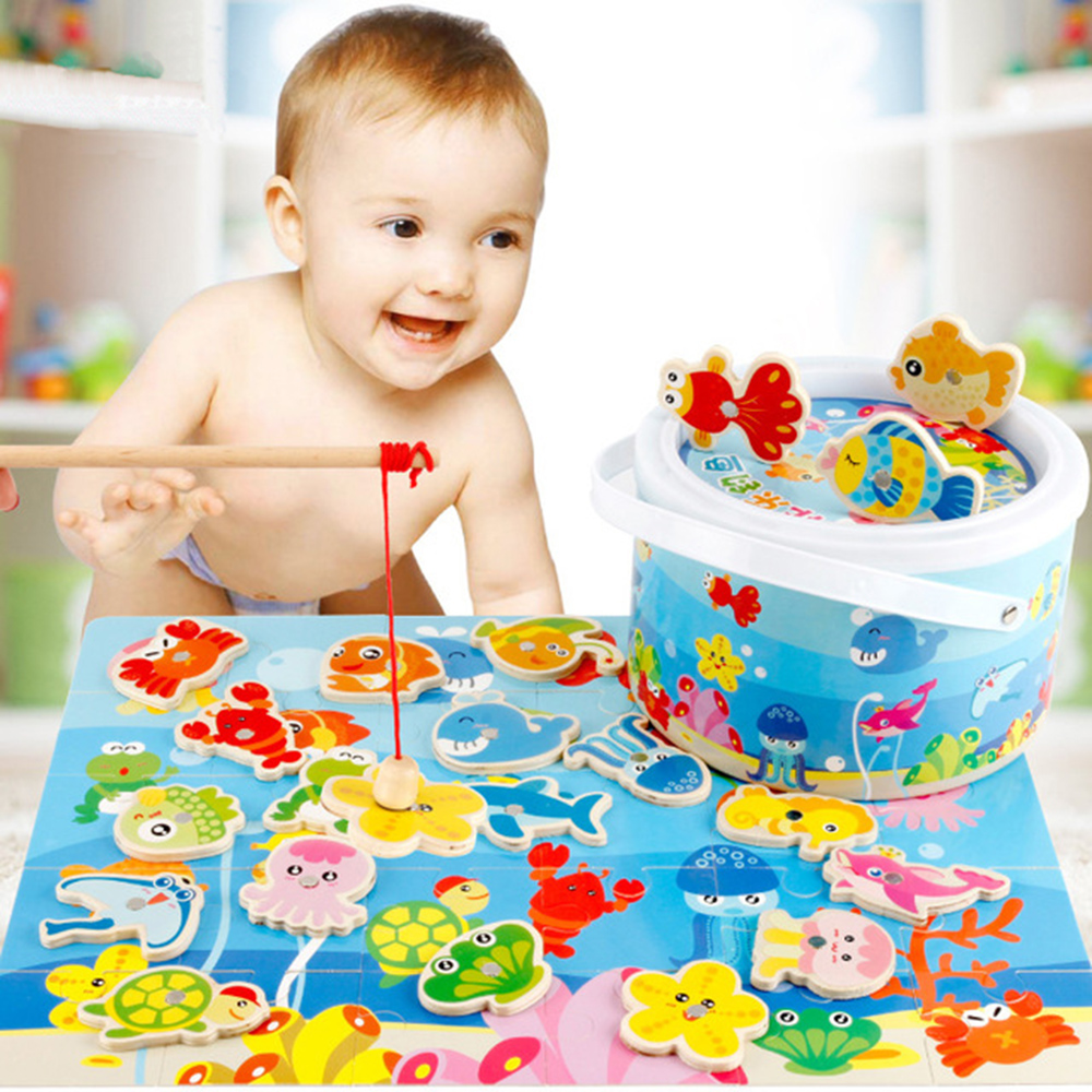Style; Well-Educated 32pcs Baby Educational Toys Fish Wooden Magnetic Fishing Toy Set Game Educational Toy Birthday Christmas Gifts For Children Fashionable In