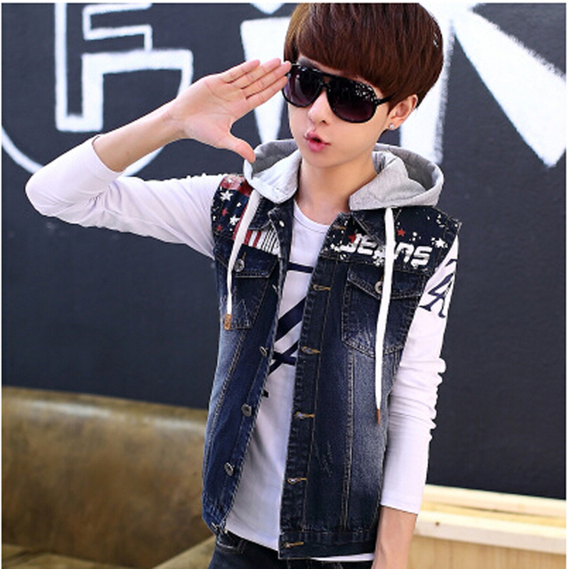 2016 New Arrival Men's Casual Denim Jacket Vest ,Male Single Breasted Hooded Denim Vests