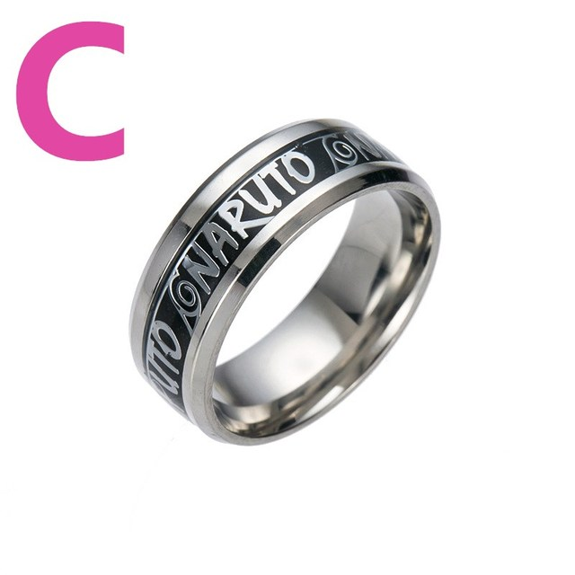 Naruto Logo Pattern Stainless Steel Titanium Ring