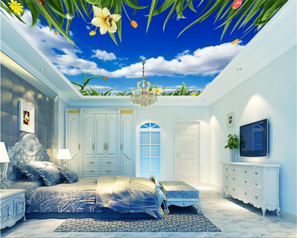 beibehang Fantasy seductive wallpaper blue sky white clouds flowers green leaves vines ceiling roof frescoes 3d wallpaper tapety children room blue sky ceiling wallpaper white clouds wallpaper for kids bedroom blue sky and white clouds wallpaper paper roll