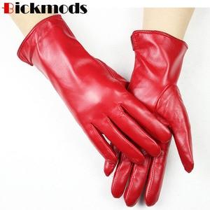 Image 2 - Nowe rękawice z owczej skóry damskie w prostym stylu wełniana podszewka kolor ciepłe, jesienne i zimowe damskie skórzane mitenki darmowa wysyłka