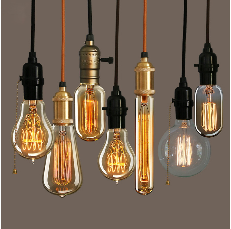 Retro vintage 40w edison light bulb chandeliere27 220v lamp industrial incandescent bulbs filament edison light bulb led lamp in pendant lights from lights