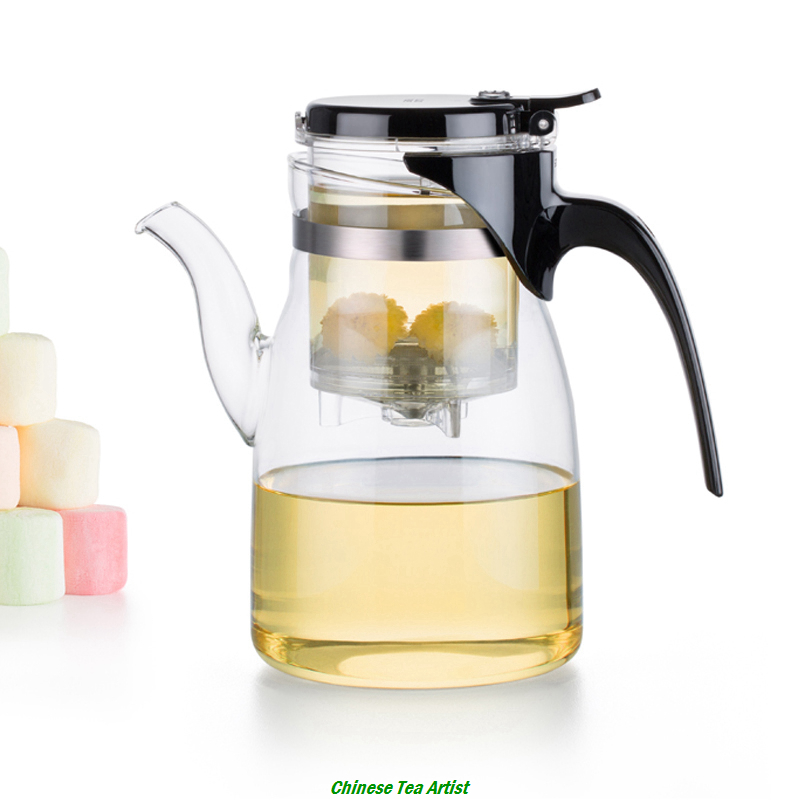 Hot Sale Heat Resistant Glass Teapot with Built in Infuser 900ml Simplified Gong Fu Tea Set
