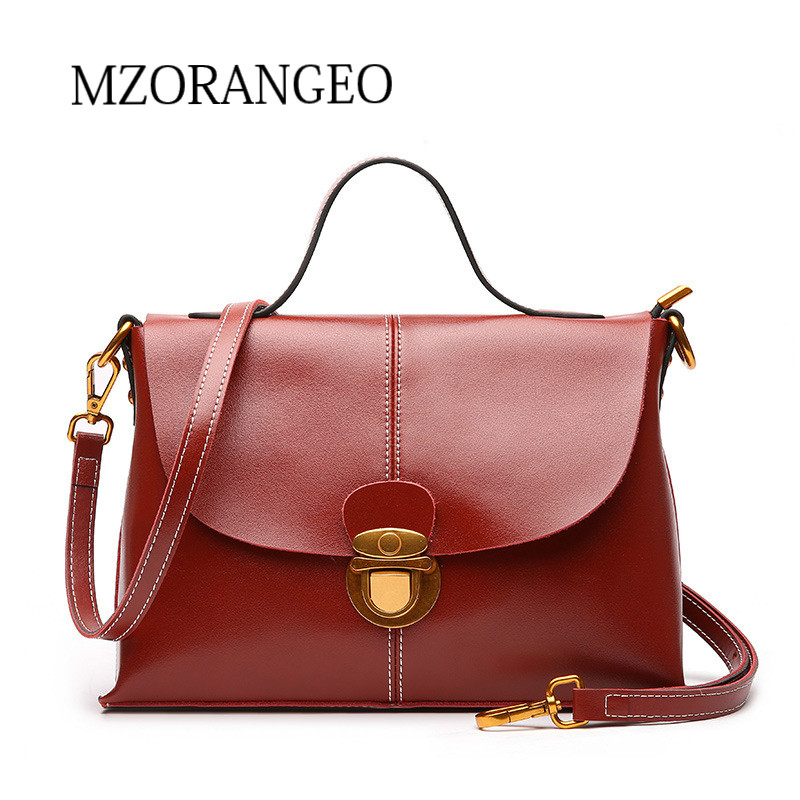 MZORANGE Genuine Leather Handbag Vintage Postman Women Bags Designer Soft Cowhide Ladies Casual Tote Shoulder Bag crossbody bag 2018 new style genuine leather woman handbag vintage metal ring cloe shoulder bag ladies casual tote fashion chain crossbody bag