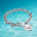 New on  shelf, 925 sterling silver bracelet for woman, fashion heart-shaped pendant bracelet, 9 mm thick, atmospheric noble