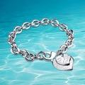 Novo na prateleira, 925 pulseira de prata esterlina para a mulher, moda heart-shaped pingente pulseira, 9mm de espessura, atmosférica nobre