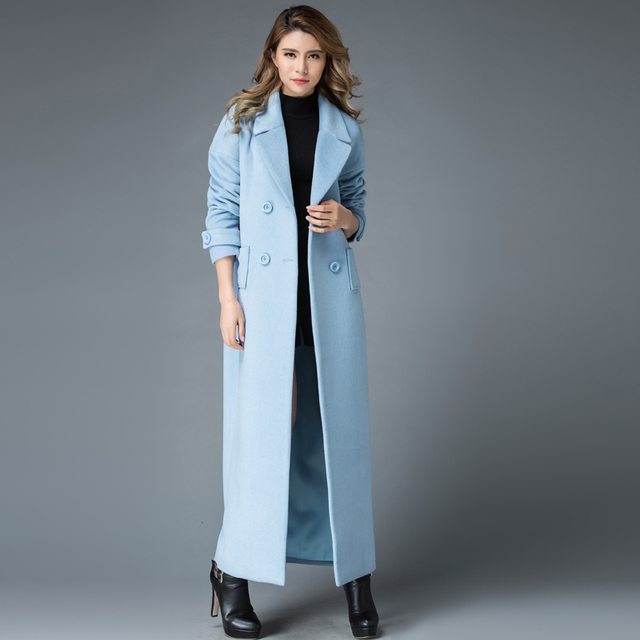 ad9913ad39b4a 2017 Winter Wool Coat Women Long Design Casual Outerwear Maxi Long Trench  Coat Plus Size S 4XL-in Wool   Blends from Women s Clothing on  Aliexpress.com ...