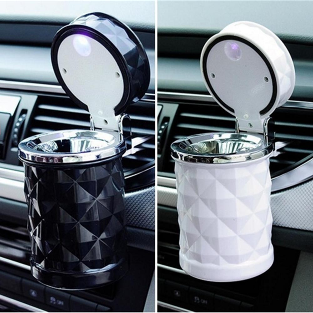 Car Ashtray Smokeless Auto Cigarette Ash Holder with Blue LED Light for Car Cup Holder LED Cigarette Smoke car Ashtray|Car Ashtray| |  - title=