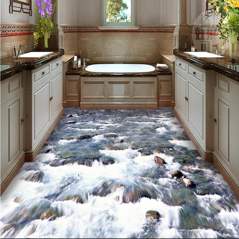 Custom Floor painting 3D Wall paper crystal clear river water Bathroom Floor Mural-3d PVC Wallpaper Self-adhesive wall sticker