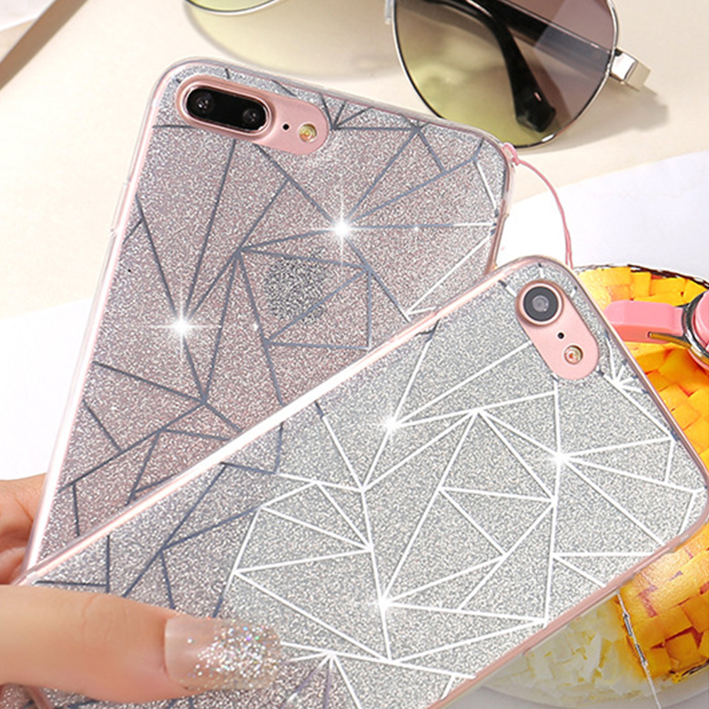 Cyato Rhombic Glitter Lattice Phone Case For Apple iPhone X 8 7 6S 6 Plus 5 5S 5C SE Luxurious Capa Soft TPU Back Cover Cases in Fitted Cases from Cellphones Telecommunications
