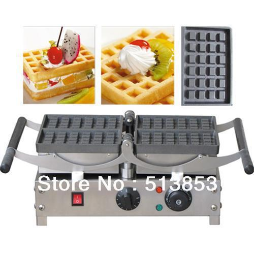 Free Shipping,Electric waffle baker, commercial waffle machine, can rolling-over/ waffle grill/ 4 pcs one time free shipping electric with recipe for waffle machine can 180 rotating 4 pcs