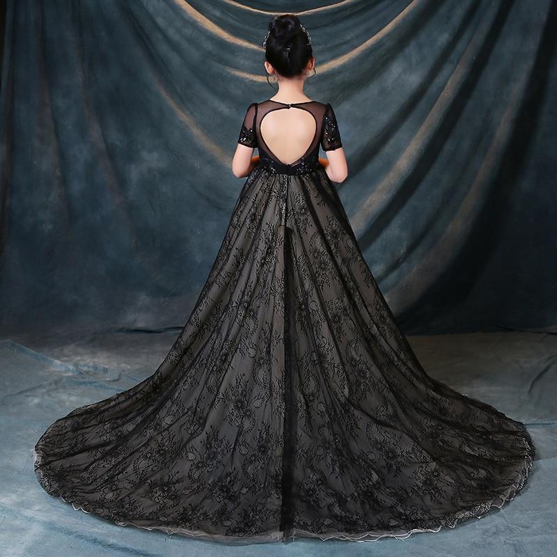 Noir 2018 luxe longue queue princesse fleur filles robe Appliques filles sainte Communion robe enfants reconstitution historique robe pour mariage