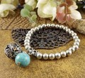 BR213 Tibetan Silver Color Balls TURQUOISE vintage Beaded Bracelet Bangle Fashion jewelry Gift for woman