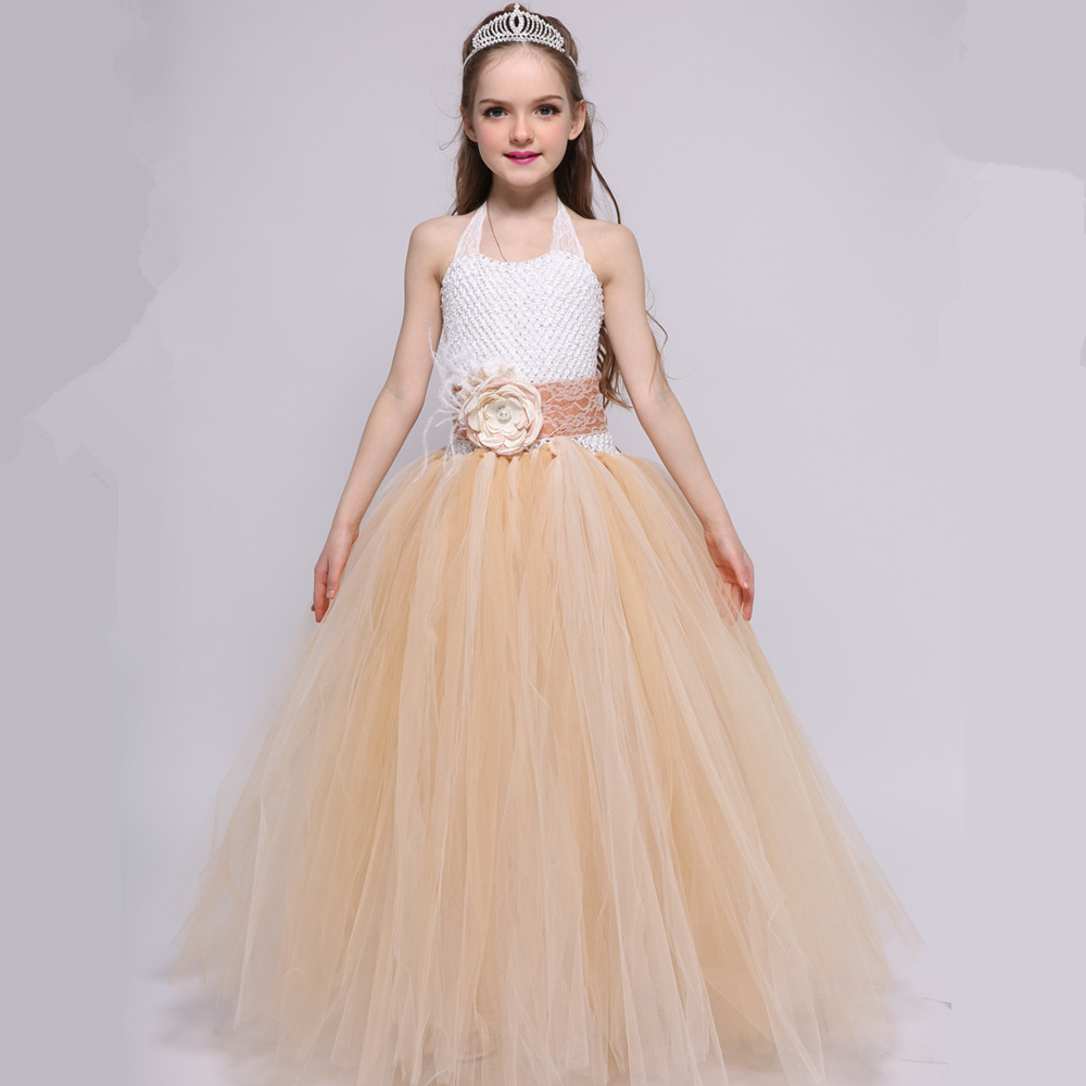 Vintage Wedding Flower Girl Dresses Champagne Lace Tulle Ball Gown Girls Kids Princess Tutu Dress Child Prom Pageant Party Dress
