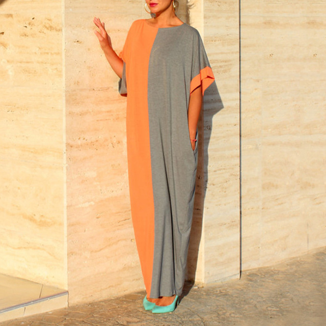 a57163b6090 Women Color block Bohemian Loose Boho Short Sleeve Summer Dress Shift Long  Maxi Dresses With Pocket Black Sundresses Robe Femme
