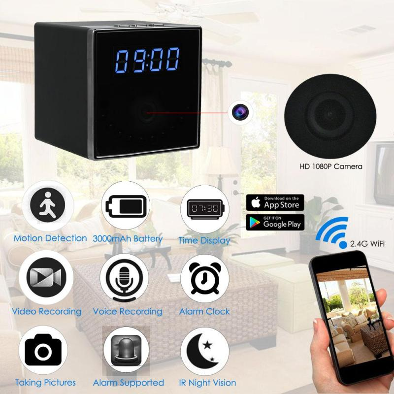 1080P WIFI Mini Camera Time Alarm Wireless Nanny Clock P2P Security Night Vision Motion Detection Home Security 1080p mini camera hd wifi clock camera time alarm p2p nanny motion detection night vision remote monitor wireless ip micro cam