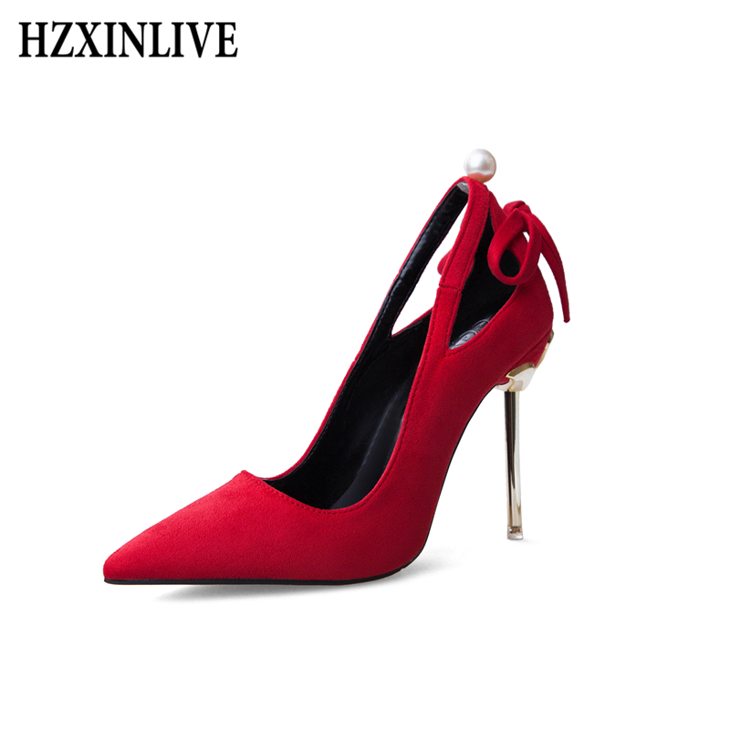 HZXINLIVE 10.5 CM Pumps Women Shoes Extreme High Heels Ladies Shoes Thin Heels Pearl Platform Suede Leathere Party Womens Shoes