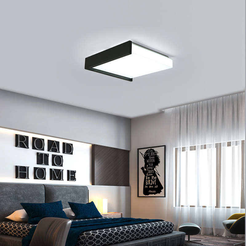 Dx Modern Led Ceiling Light Square Lighting Fixture Living Room Lights Lamp Remote Control Dimmable Er Panel Black White