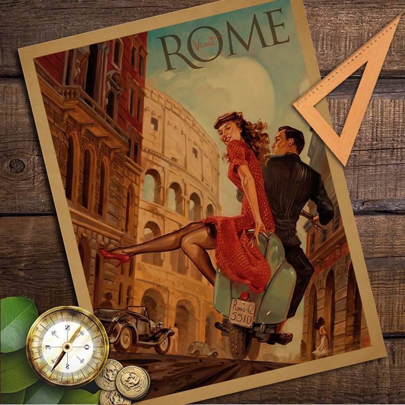 Romantic Rome Street Vintage Retro Poster Kraft Paper Wall Sticker Living Room Cafe Bar Pub Home
