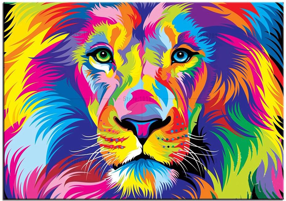 Colour Variation Animals : 5D DIY Diamond Painting Color Lion Animal Diamond Painting Cross Stitch Colored Owl &Balloons ...