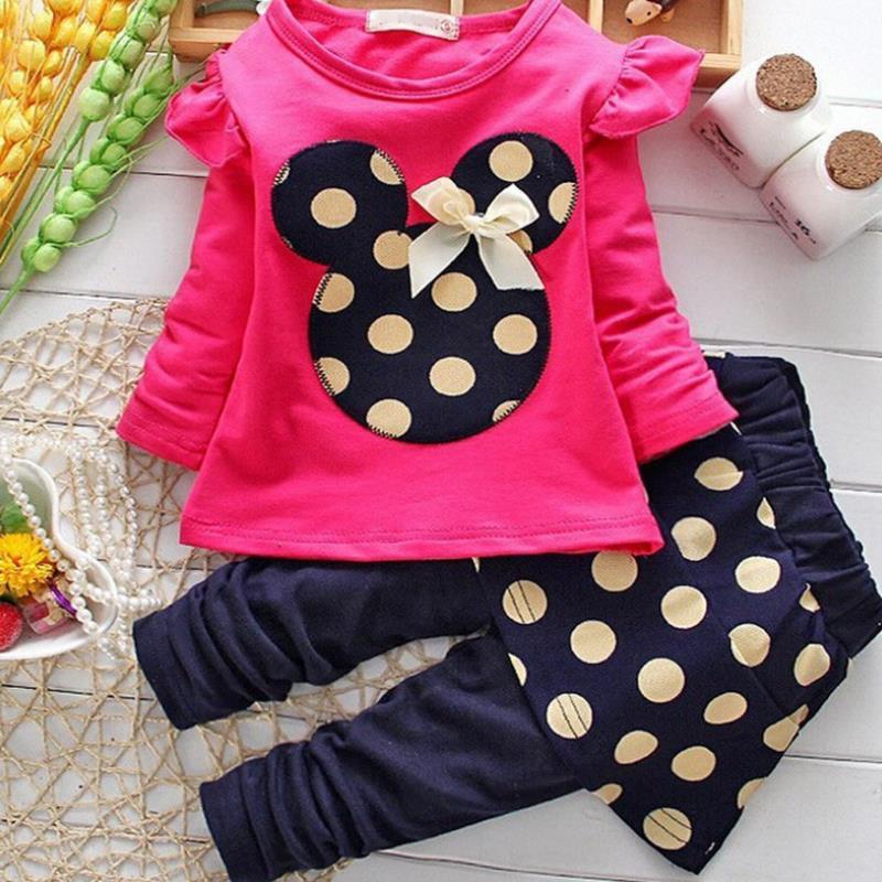 2018 Minnie Maus Kleidung Set Kinder Baby Mädchen frühling und herbst Outfits Kleidung T-shirt Tops Polka Dot Hose Party