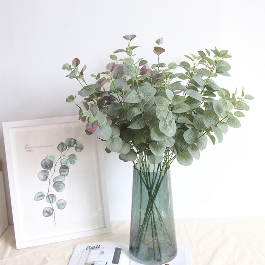 Ветка из искусственных листьев в стиле ретро, зеленые шелковые листья эвкалипта для домашнего декора, свадебные растения, искусственная тк...