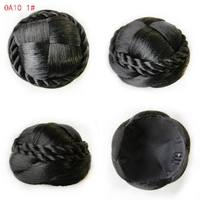 9cm Popular Toupee Fake Hair Chignon Chip In Hairpiece Braided Hair Bun Clip Hair Wraps Donut