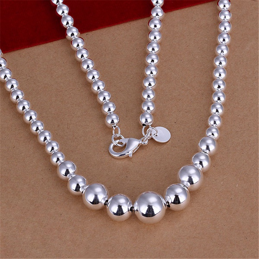 For women wedding charms cute beads chain silver color beads Necklace Fashion trends Jewelry Gifts N195 , tag