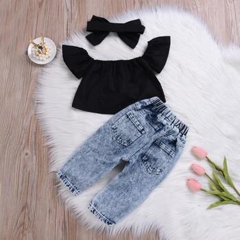2Pcs Fashion Girls Clothes Set Off Shoulder Tops T-Shirts Denim Pants Ripped Jeans Set Summer Baby Bebes Children Clothing Set 4