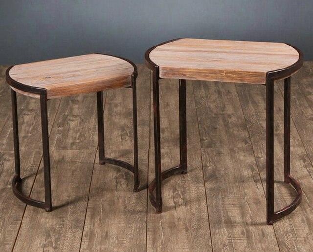 Hierro pequeña mesa de café estantes de edad de madera de pino para ...