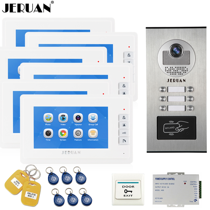JERUAN 7`` LCD Video Door Phone Record Intercom system RFID Access Entry Security Kit For 6 Apartments Camera to 6 Household jeruan 7 inch video door phone record intercom system rfid access entry security kit for 4 apartment camera to 4 household