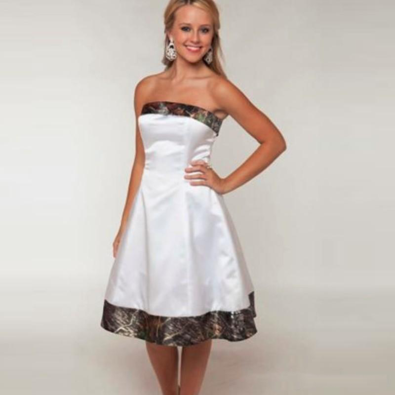 2019 New Camo Weddings Camouflage Bridesmaid Dresses Custom Made Short White Girl Dresses Strapless Wedding Party Gowns
