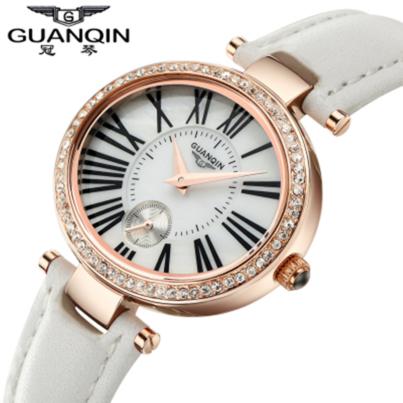 ФОТО 2016 Luxury Women Watch Famous Brand Diamond GUANQIN Ladies Quartz Watches Waterproof Girls Watches Wristwatches Montre Femme